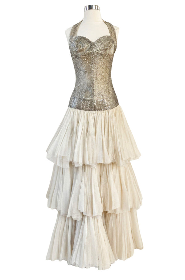 Rare Late 1920s Early 1930s Howard Greer Silver Beaded Halter Dress w Silk Tulle Net Tiered Skirt