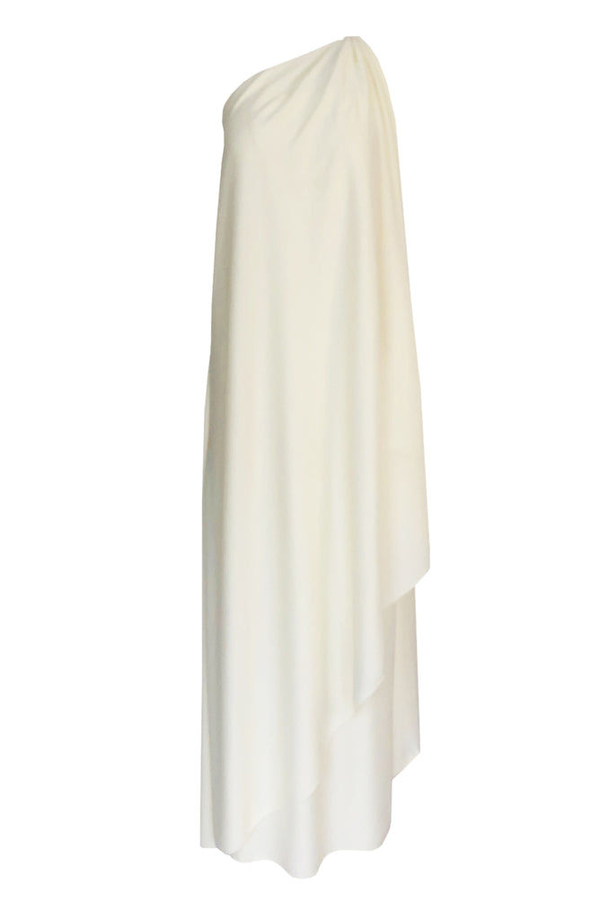 1978 Halston Off White Ivory One Shoulder Draped Jersey Maxi Dress