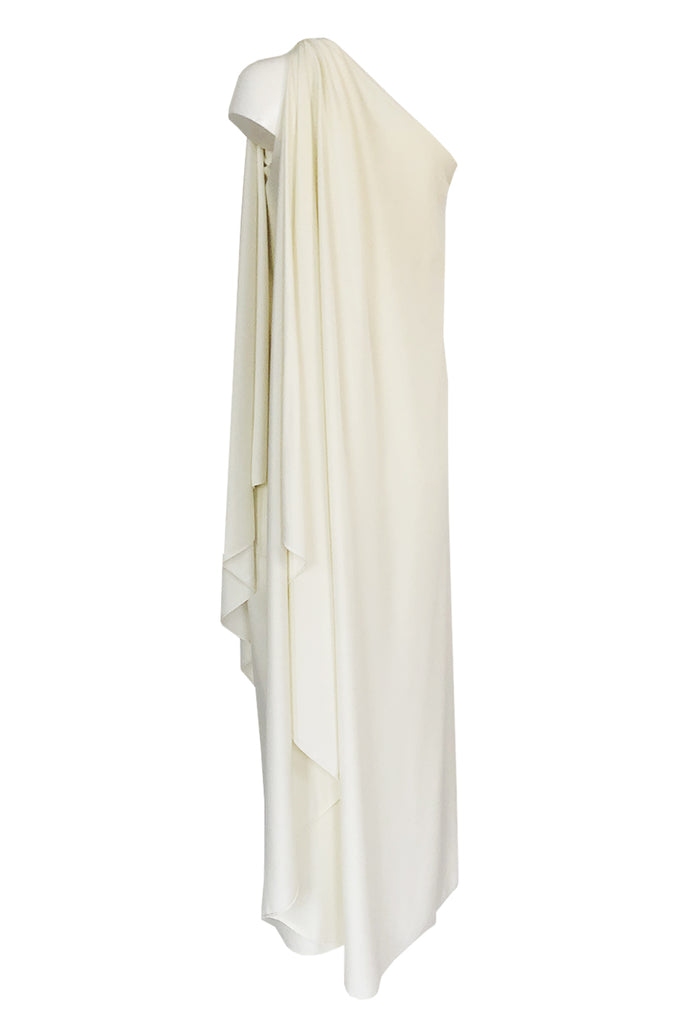 c.1978 Halston One Shoulder Draped Ivory Jersey Full Length Maxi Dress