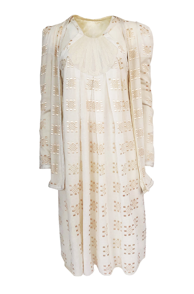 c.1971 Bill Gibb Embroidered Ivory Cotton Gauze Dress & Jacket Set