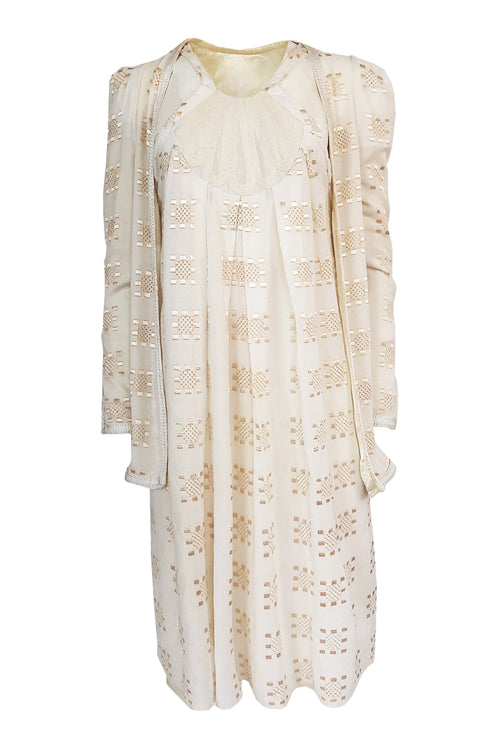 Super Sale! c.1971 Bill Gibb Embroidered Ivory Cotton Gauze Dress & Jacket Set