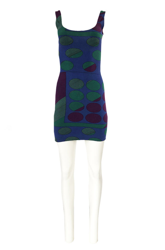 1980s Liza Bruce Printed Spandex Stretch Fitted Body Con Dress