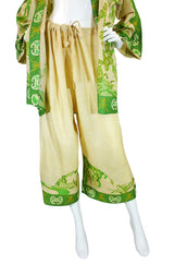 Rare 1920s Printed Tissue Silk PJ Set