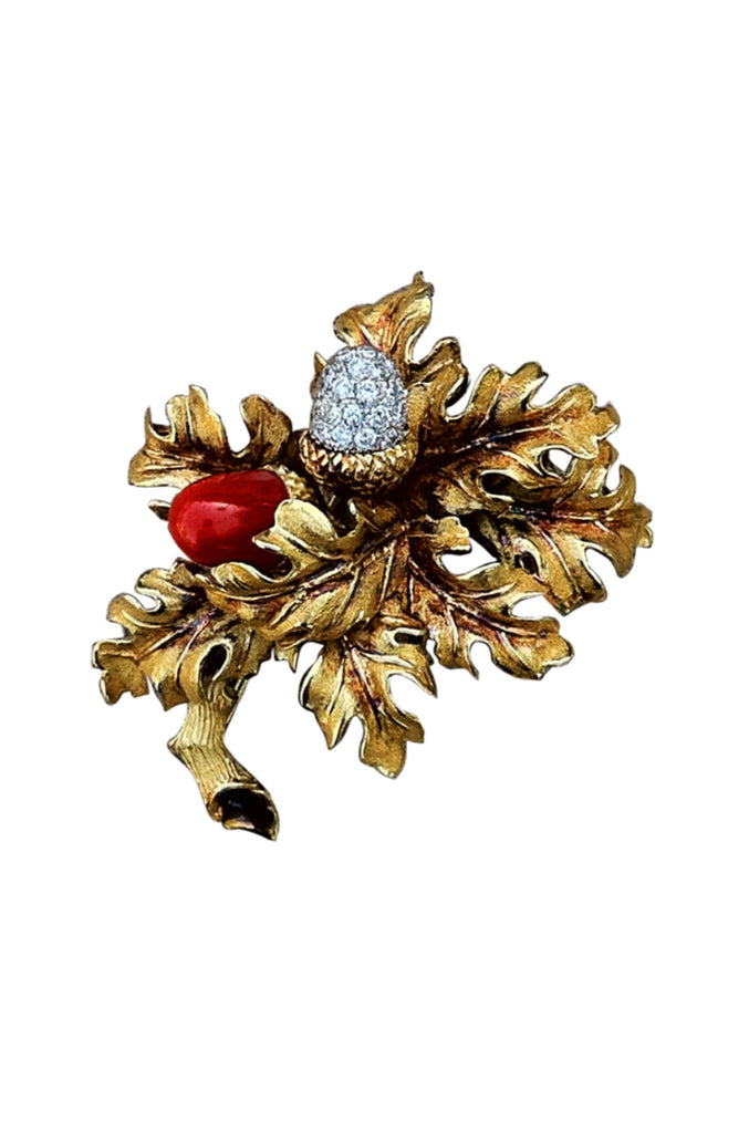 TIFFANY & CO. Diamond Coral Acorn Brooch 1967