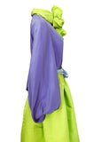 Spring 1978 Bill Blass Green Silk Taffata Skirt & Purple Silk Top Dress Set
