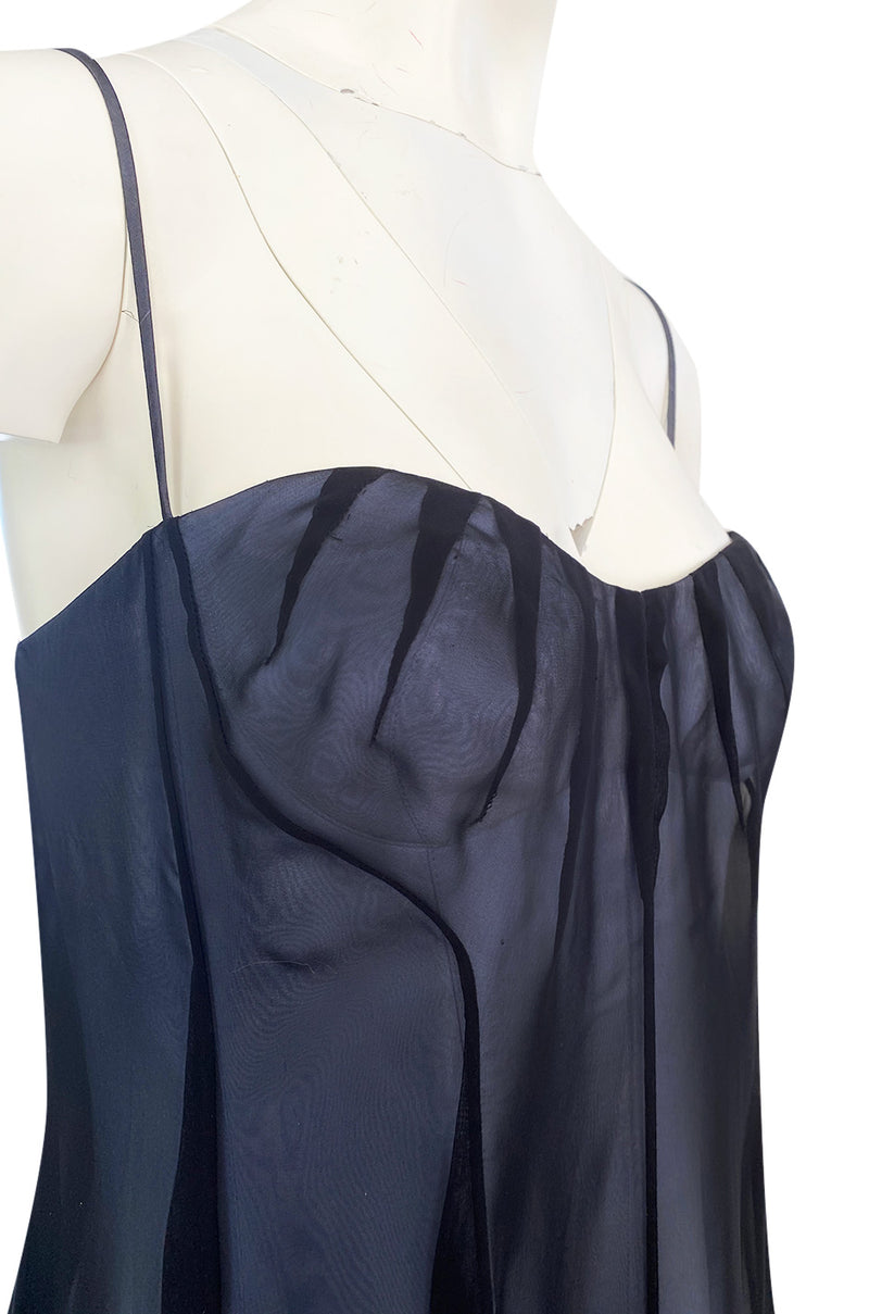 Spring 1999 Thierry Mugler Runway Documented Strapless Black & Ice Blue Chiffon Dress