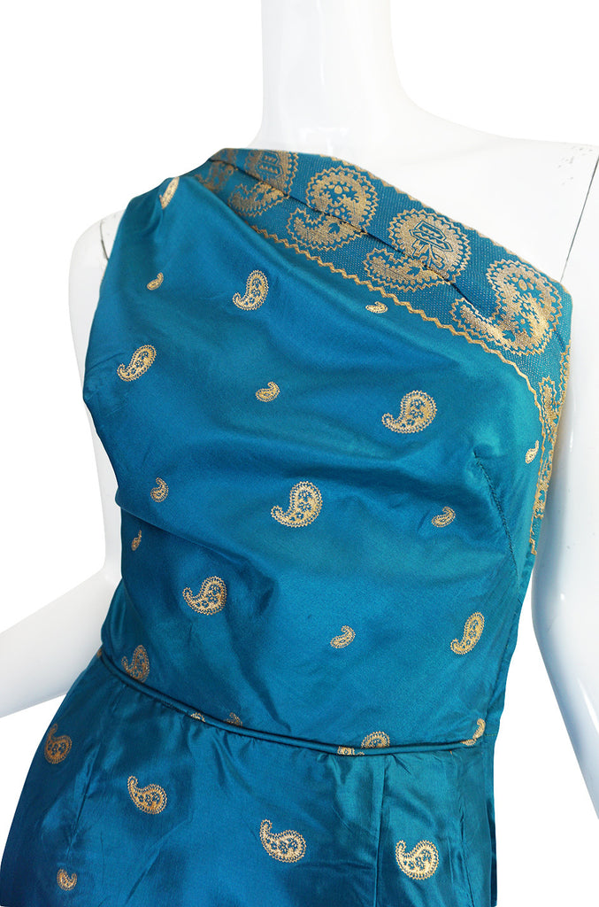 1950s One Shoulder Blue & Gold Silk Sari Dress & Jacket