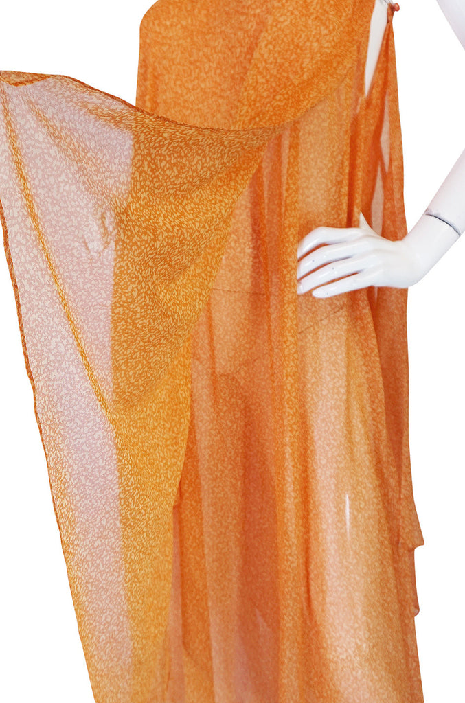 1970s Silk Chiffon Hem Yves Saint Laurent Dress & Capelet