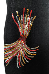 Stunning 1970s Adolfo Black Knit w Sequin & Rhinestone Detailing Dress