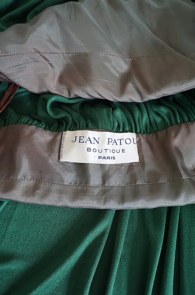 1960s Jean Patou Demi-Couture Green Jersey Caftan Dress