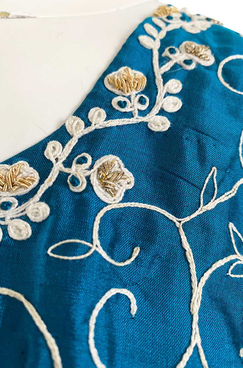 1970s Elaborately Embroidered Deep Turquoise Blue Silk Caftan Dress