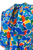 Spring 1983 Yves Saint Laurent Silk Multi Color Print on Blue Dress