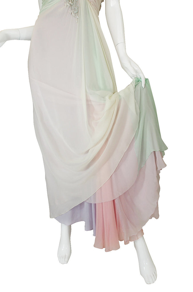 1970s Bob Mackie Pastel & Beaded Silk Gown