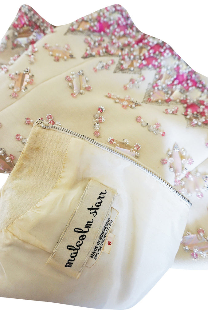 1960s Cream with Pink Beaded Sequin Malcolm Starr Dress