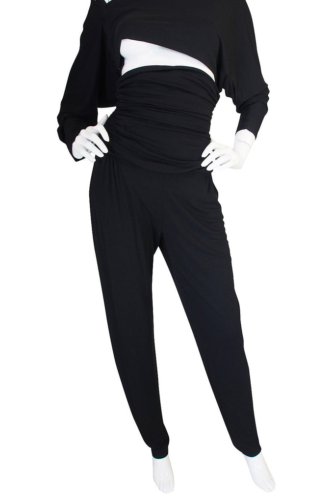 1980s Black Jersey Norma Kamali High Pant & Top Set