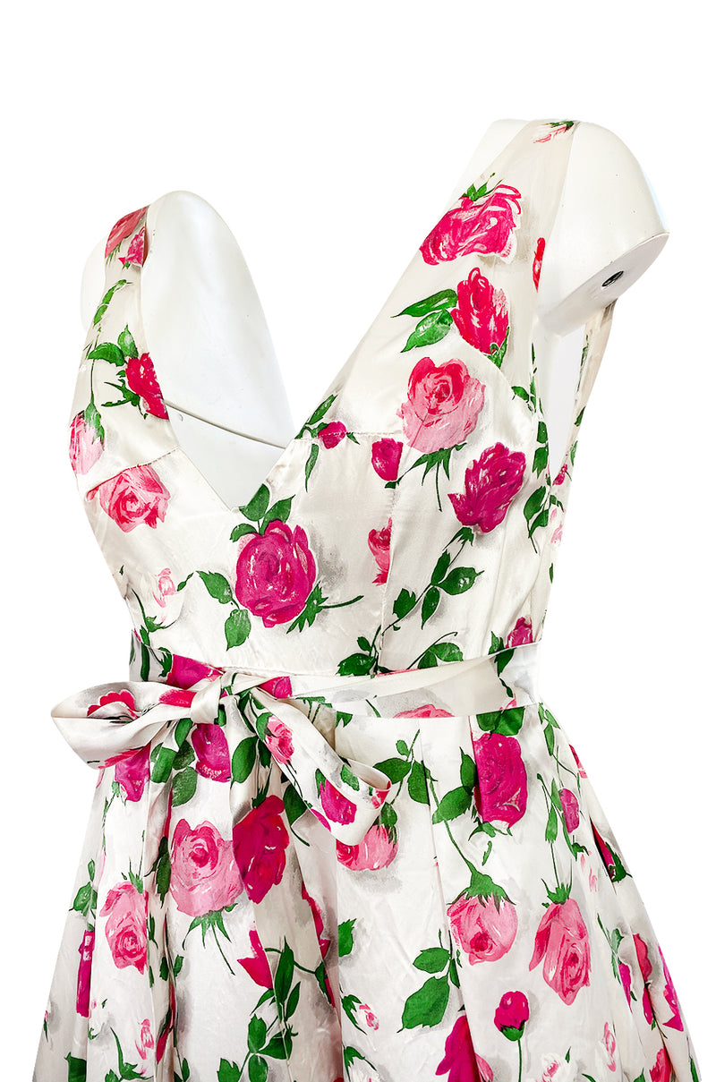 1950s Unlabeled Hand Painted Rose Print Light Satin Backless Halter Dress