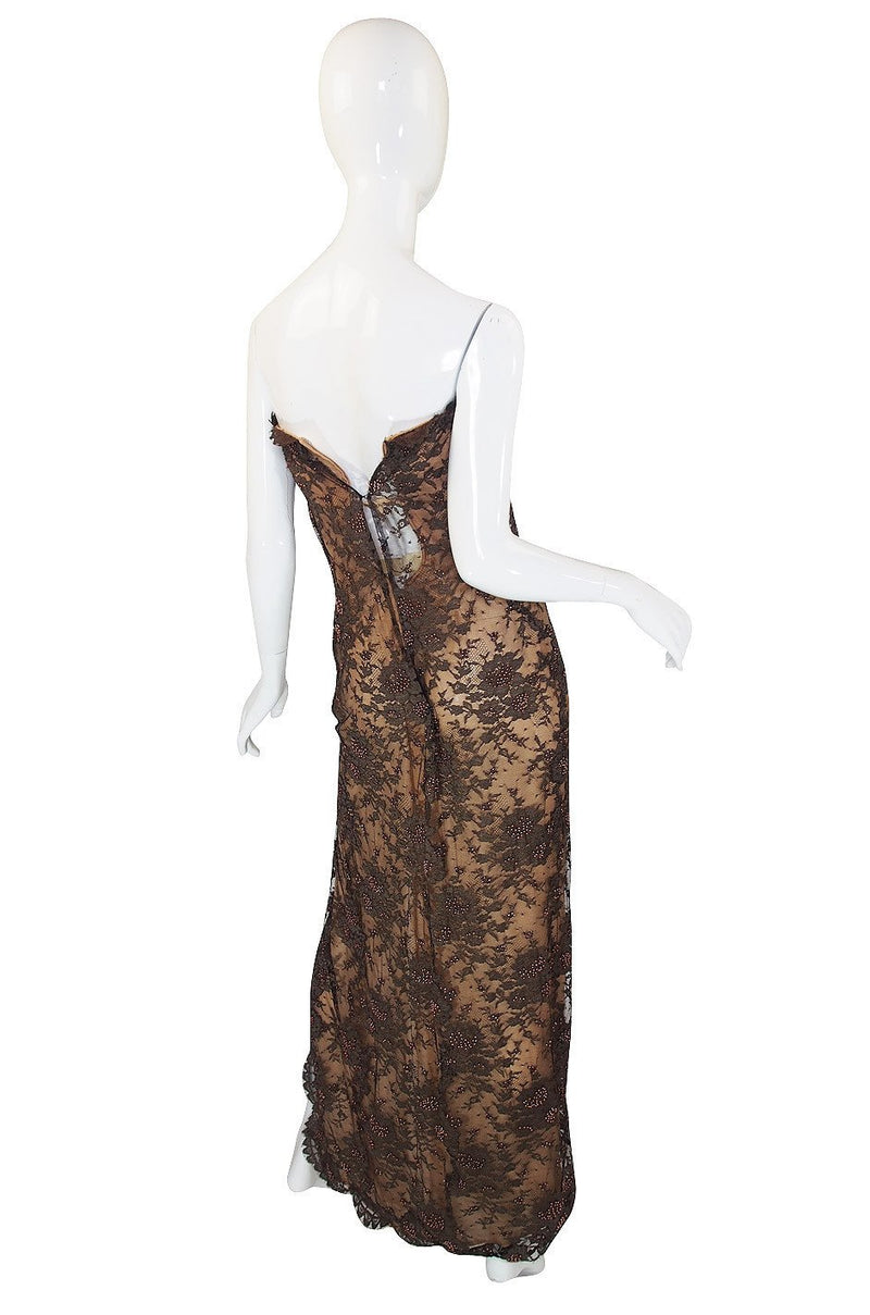 1970s John Anthony Couture Beaded Lace Strapless Dress