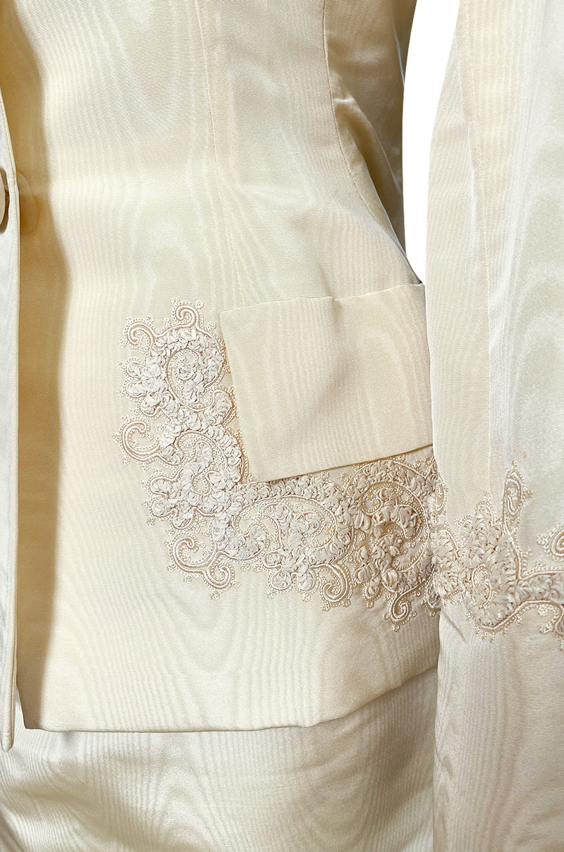 1980s Bill Blass Ivory Moire Silk Suit w Extensive Raffia & Embroidered Detailing