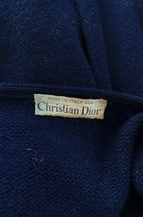 1970s Christian Dior Deep Blue Knit Poncho Cape w Leather Appliqué Work
