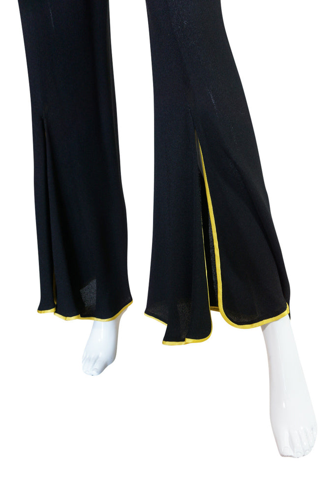 1970s Yellow Trim Ossie Clark Moss Crepe Trouser Suit