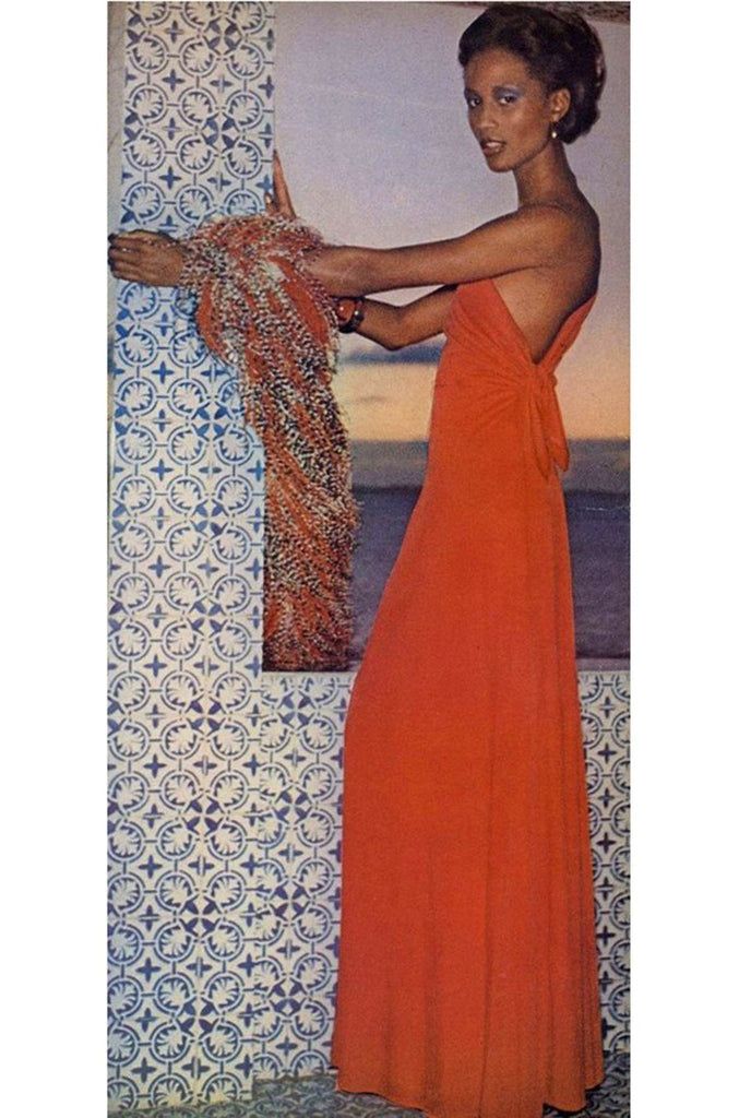 Documented 1973 Mollie Parnis One Shoulder Dipped Back Coral Jersey Dress