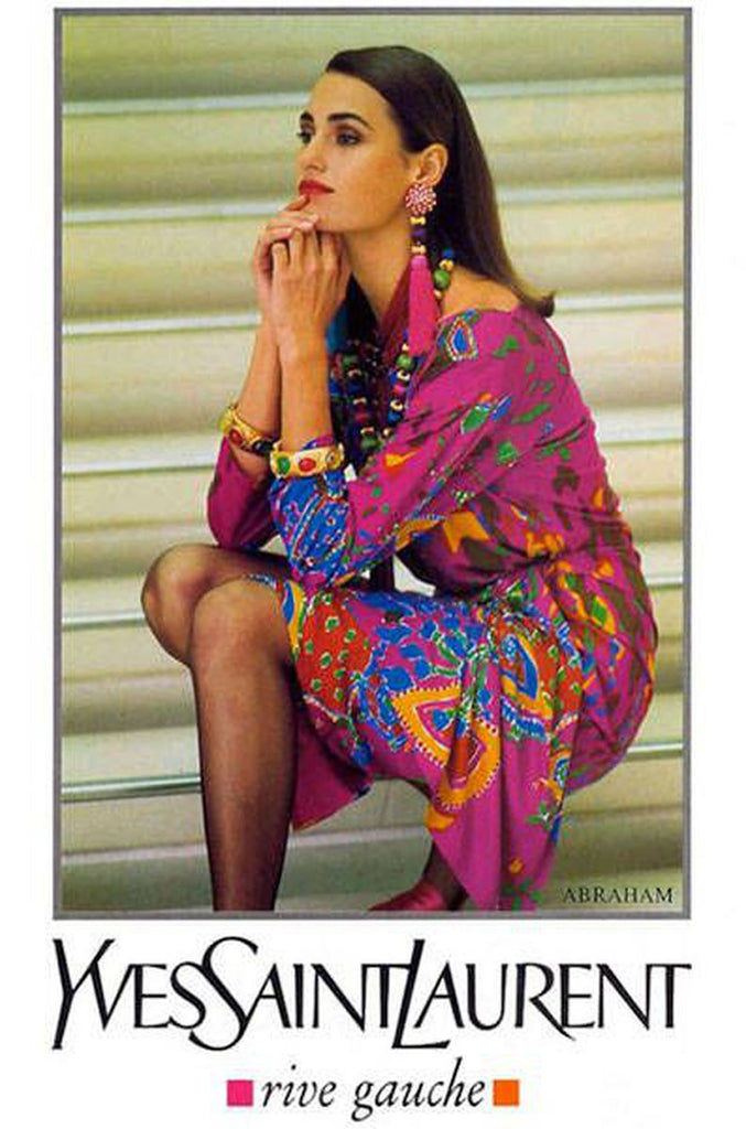 Spring 1991 Yves Saint Laurent Runway & Ad Campaign Printed Draped Dress