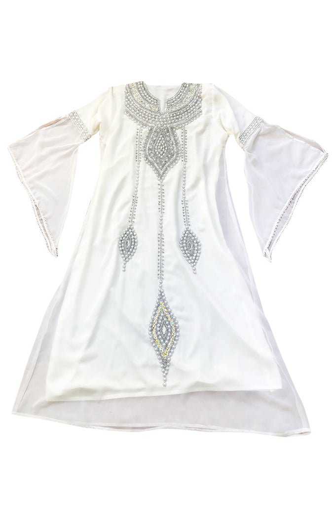 1970s Elaborate Silver, Pearl & Bead Covered Jeweled White Chiffon Caftan Dress