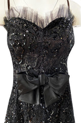 Fall 1987 Yves Saint Laurent Metallic Lame Lace & Black Sequin Bow Dress
