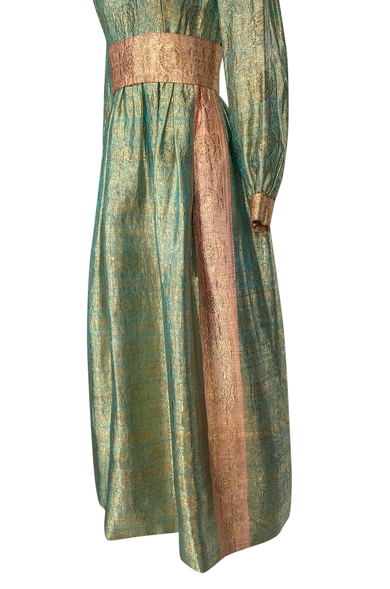 1960s George Halley Gold Metallic Blue-Green & Dusty Pink Lame Dress