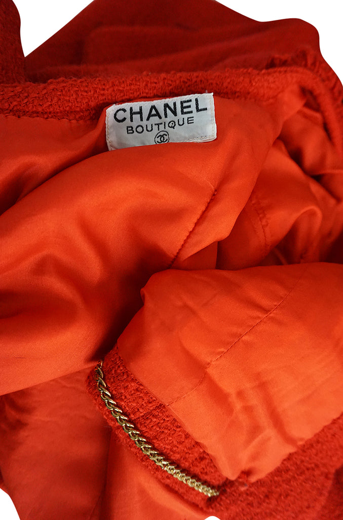 c1978-1985 Chanel Red Boucle Cropped Jacket & Skirt Suit