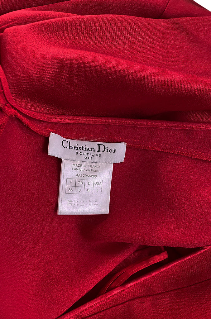 Early 2000s Christian Dior by John Galliano Red Silk Satin Bias Cut Dress