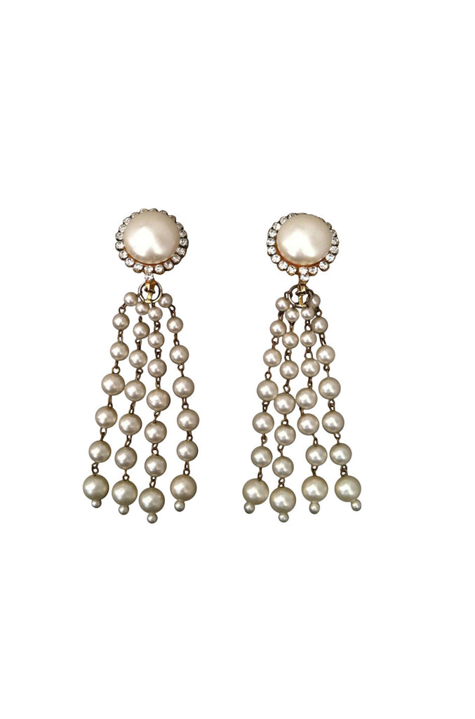 CHANEL 1980s Pearl Tassel Earrings