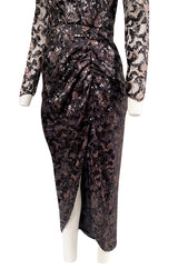 1980s Vicky Tiel Couture Fitted Metallic Net Dress w Extensive Black Sequin Detailing