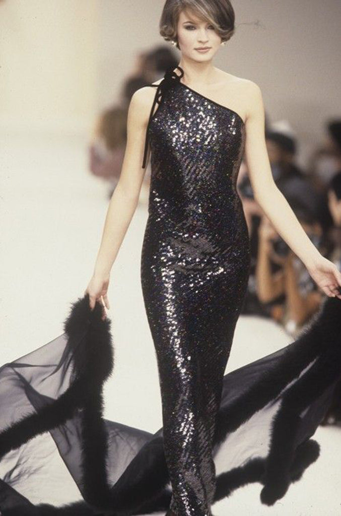 Fall 1996 Oscar De La Renta Runway One Shoulder Glitter Sequin Dress
