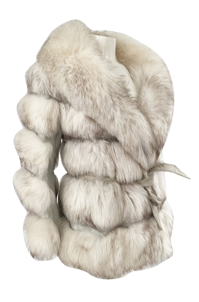 1960s Schiaparelli Convertible Two Length Fox Fur & Leather Coat