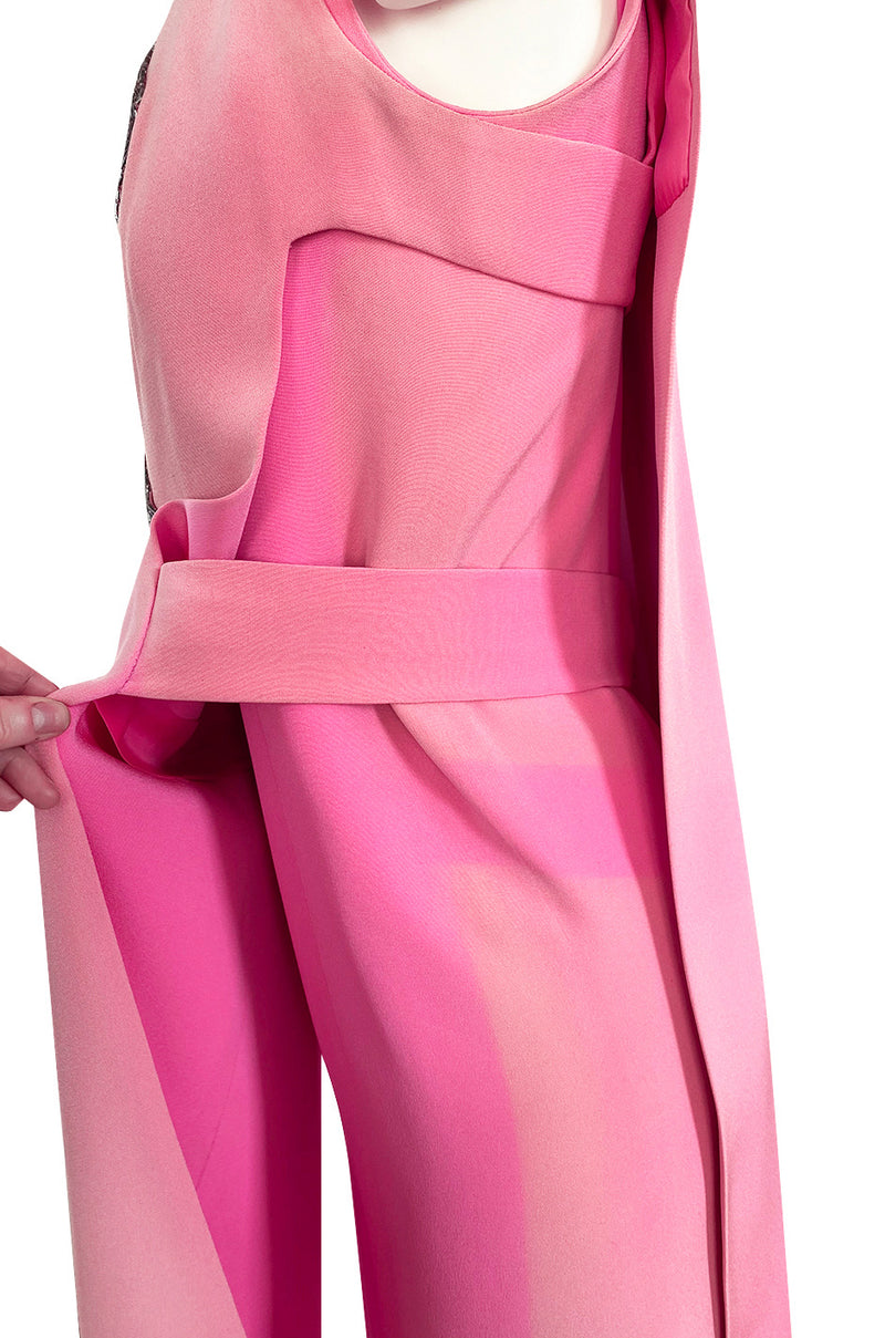 Documented 1969 Pierre Cardin Couture Pink Silk Crepe Diamond Beaded Dress w Overlay