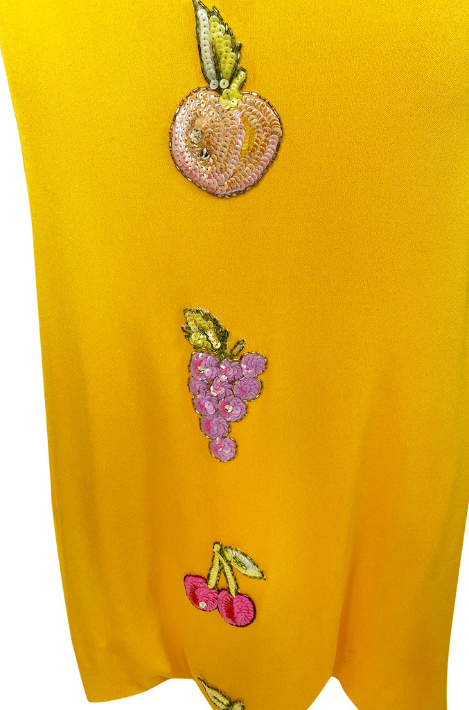 Early 1970s Bob Mackie Ray Aghayan Yellow Jersey Dress w Sequin Fruit