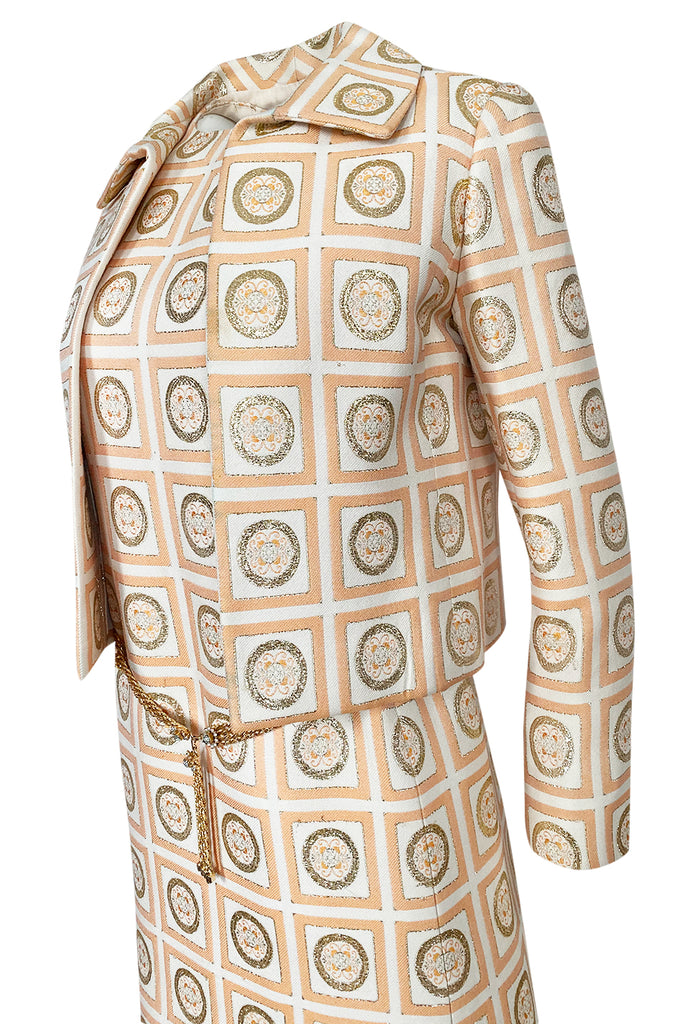 1960s Christian Dior Demi-Couture Peach & Metallic Gold Dress & Jacket