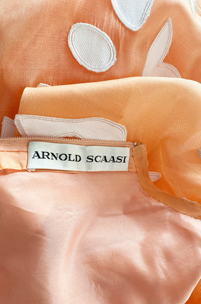 1960s Arnold Scaasi Couture Peach Silk Organza Dress w Incredible Sleeves