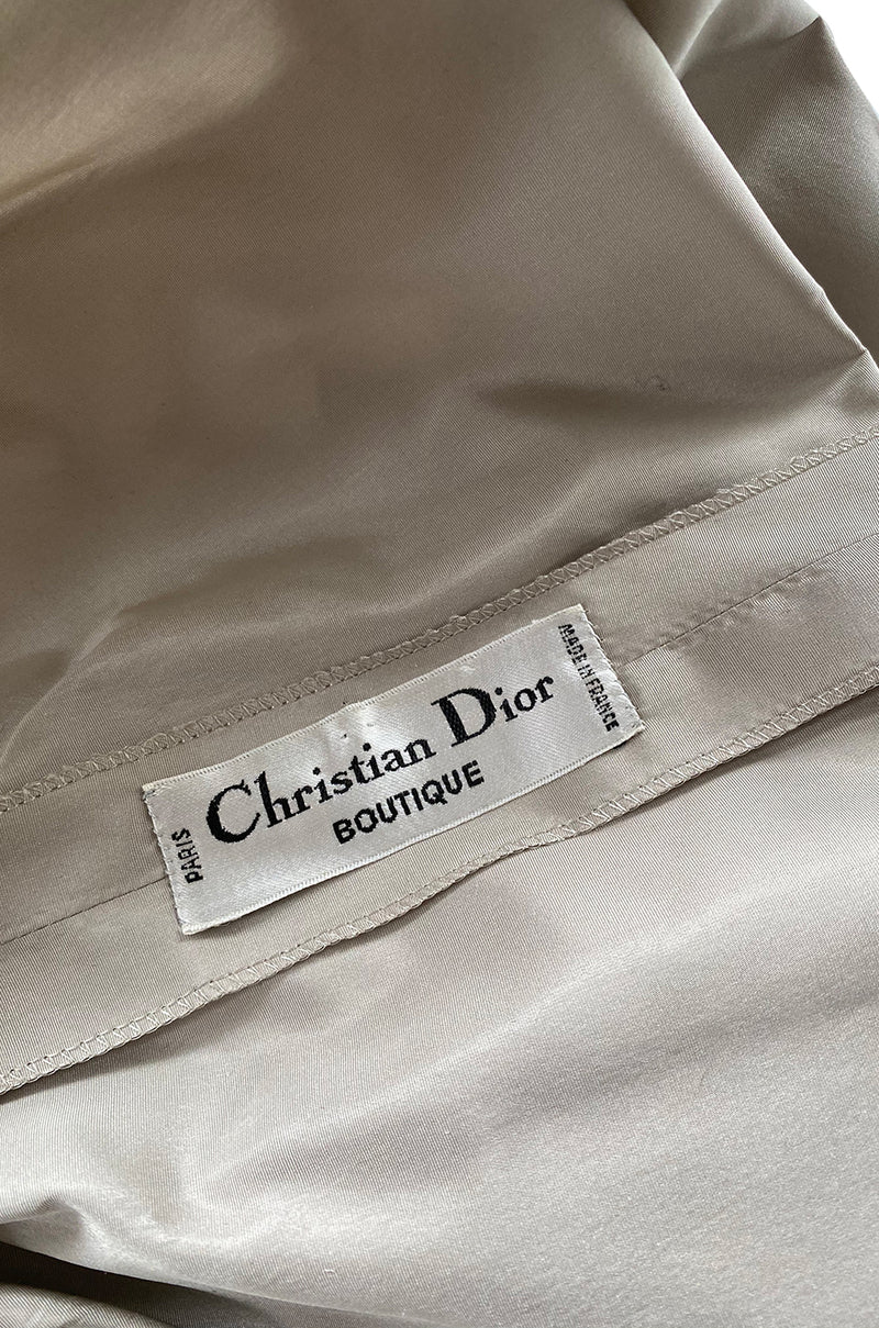 Runway 1981 Christian Dior by Marc Bohan Grey Silk Taffeta Ruffle Dress