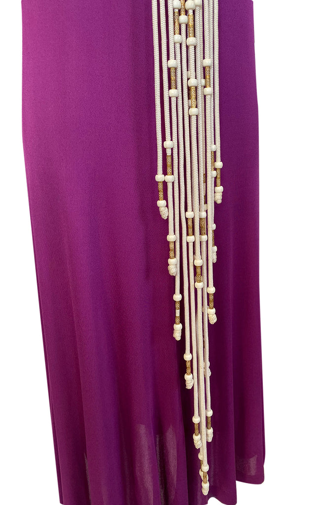 1972 Bob Mackie Ray Aghayan Purple Jersey Dress w Macrame