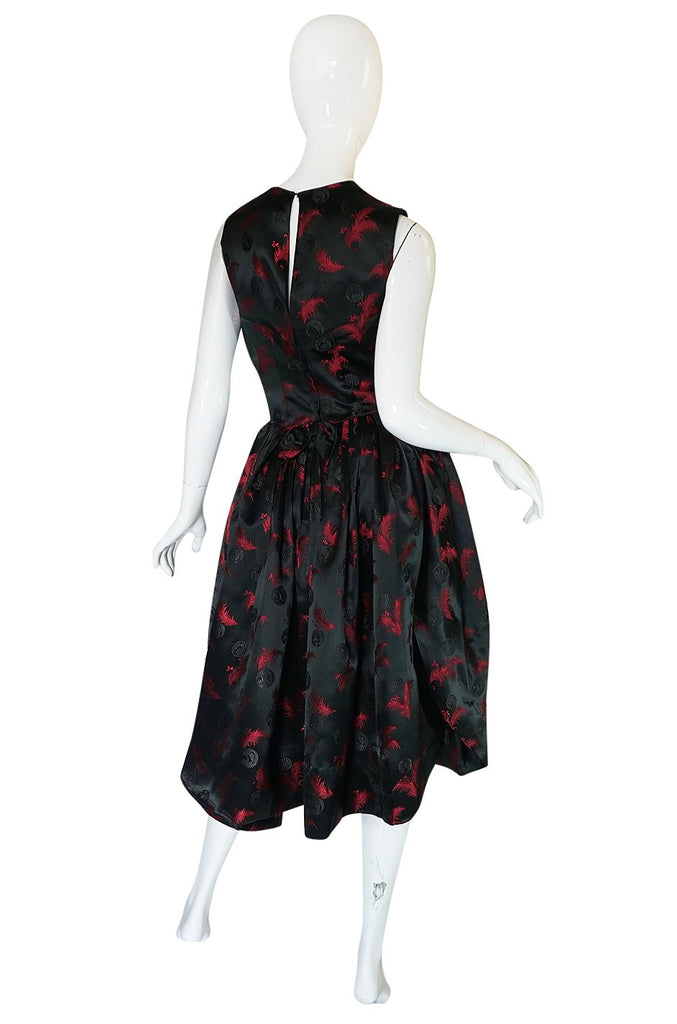 1950s Unlabelled Red & Black Aisian Silk 'Feather' Dress
