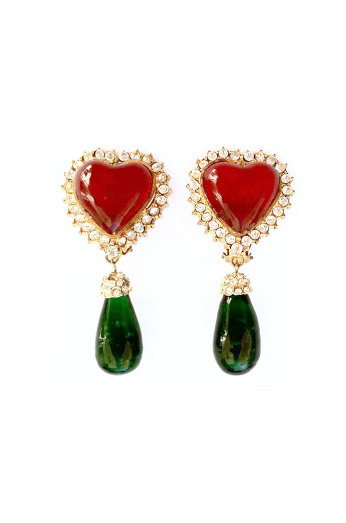 CHANEL Maison Gripoix Heart Earrings 1980s
