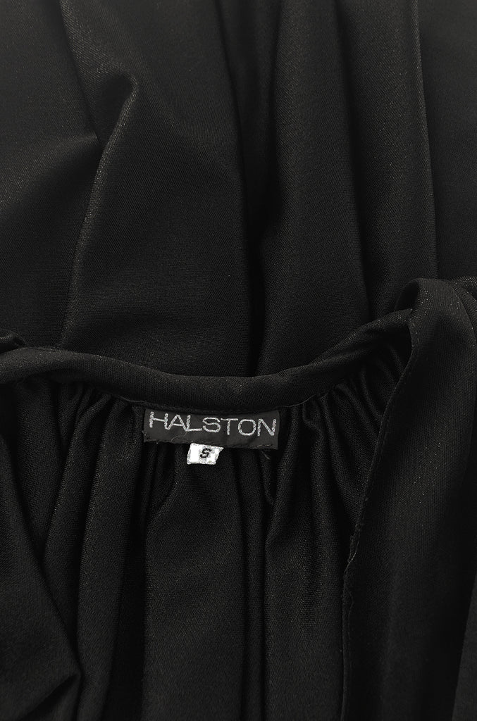 c1976 Halston Black Draped Plunge Front Caped Back Jersey Dress