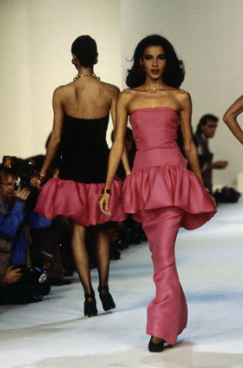 Spring 1987 Yves Saint Laurent Runway & Ad Campaign Pink Ruffle Dress