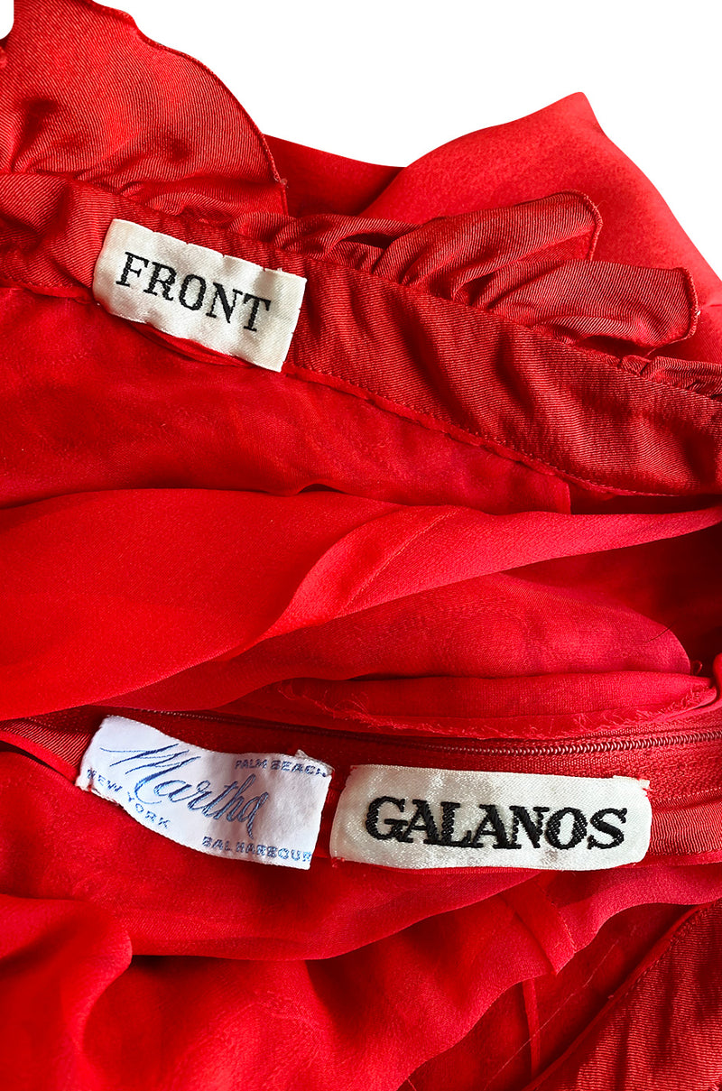 Documented 1981 James Galanos One Shoulder Red Silk Dress w Trapunto Quilting Detail