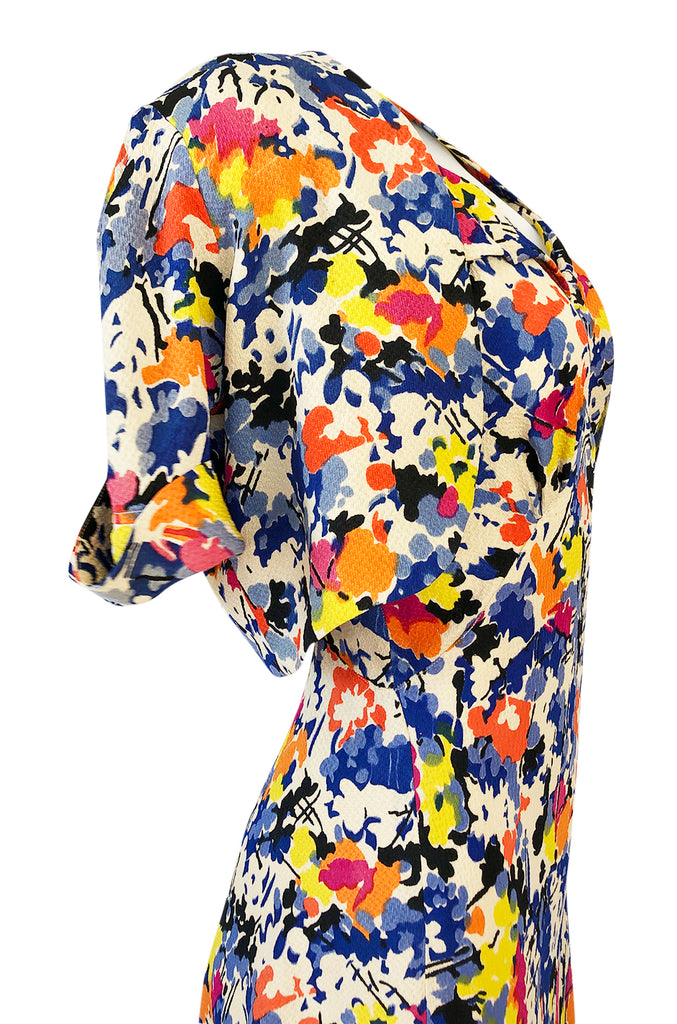 1930s Unlabeled Bias Cut Floral Print Silk Crepe Dress & Crop Jacket