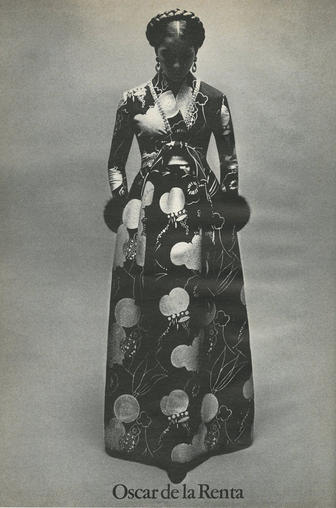 Important Fall 1970 Oscar de la Renta Ad Campaign Silk Brocade Dress