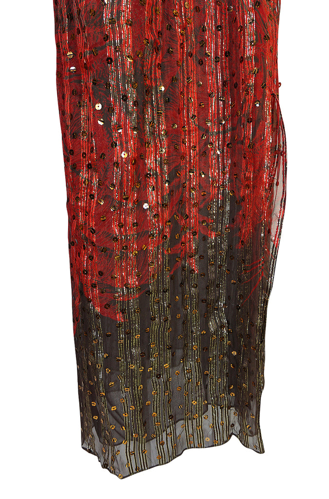 Fall 1979 Bill Blass Couture Hand Sequin Gold & Red Silk Chiffon Dress
