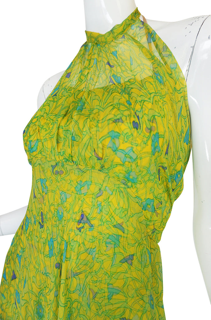 Spectacular 1970s Silk Chiffon Halter Dress & Feather Trim Cape